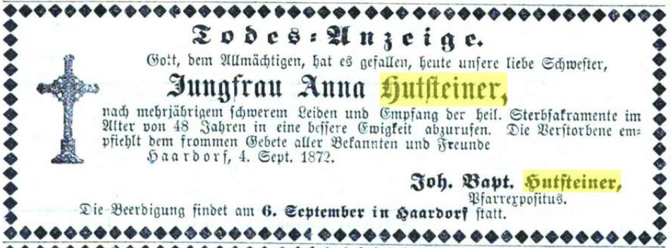 Hutsteiner Anna +1872